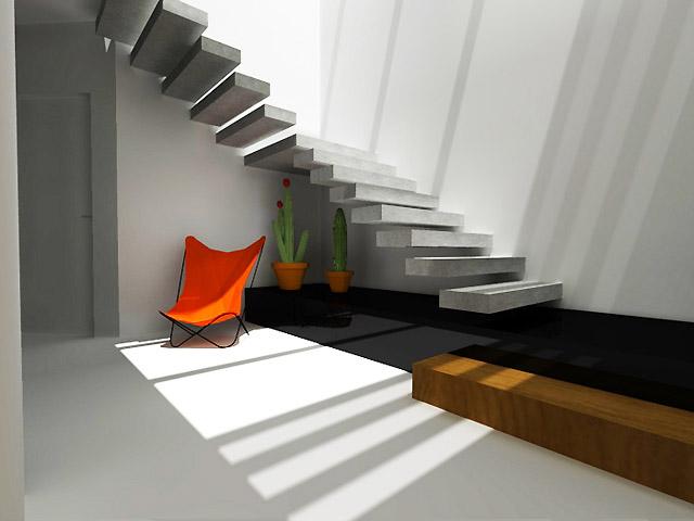 Конзолна стълба - перфектно изпълнена , видим стоманобетон