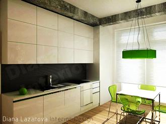 Кухнята е проектирана линейна