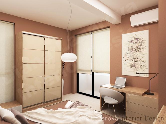 Интериорната концепция на спалнята залага на меки земни цветове