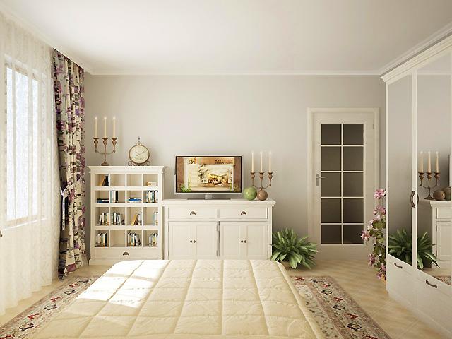 Бяло и нежно облачно сиво са изборът за цветовото решение на спалнята