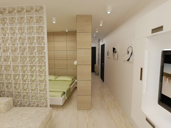 мястото за спане със стена от стъклени тухли, за да има повече светлина и в новата спалня.