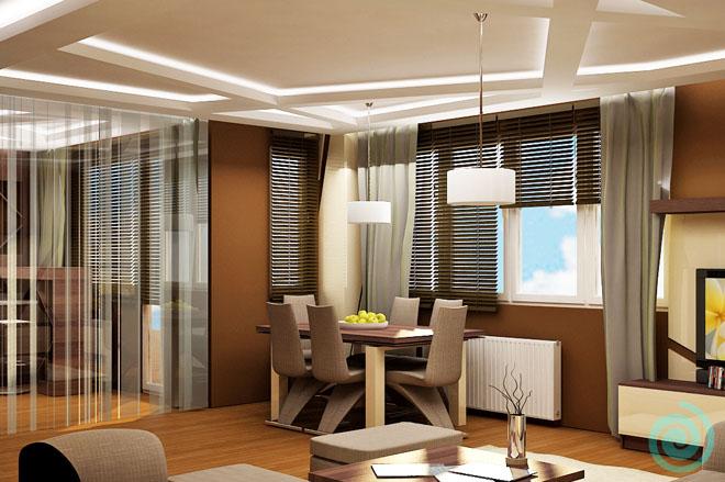 Формата на таваните в кухнята и хола напомня за разкривена пчелна пита