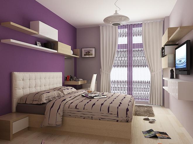 Спалня в лилаво - интериорен проект