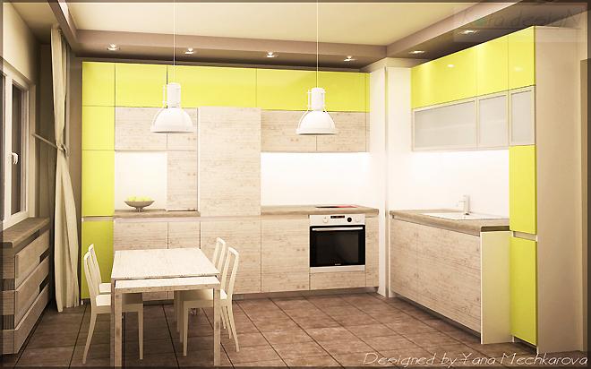 В кухнята шкафовете с необходимото оборудване са разположени Г-образно