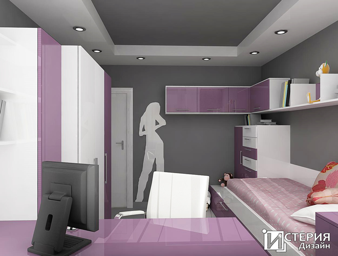 Интериорен проект на стая за млада дама - 14.5 кв.м