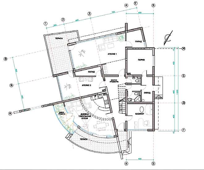 Проект на еднофамилна къща с ателиета на художник професор Димитър Чолаков в гр. Търговище