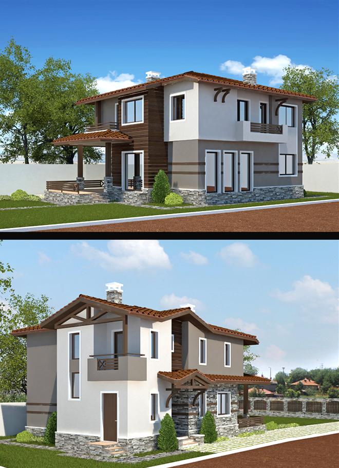 Проект на двуетажна къща-визуализации на фасадите