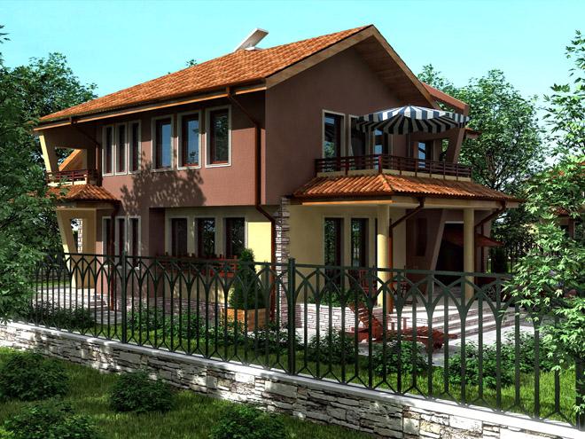 Проект на еднофамилна двуетажна къща в село Волуяк, област София