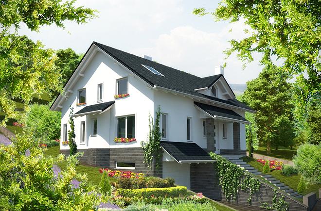 Проектираната къща е двуетажна, двуфамилна, със сутерен.