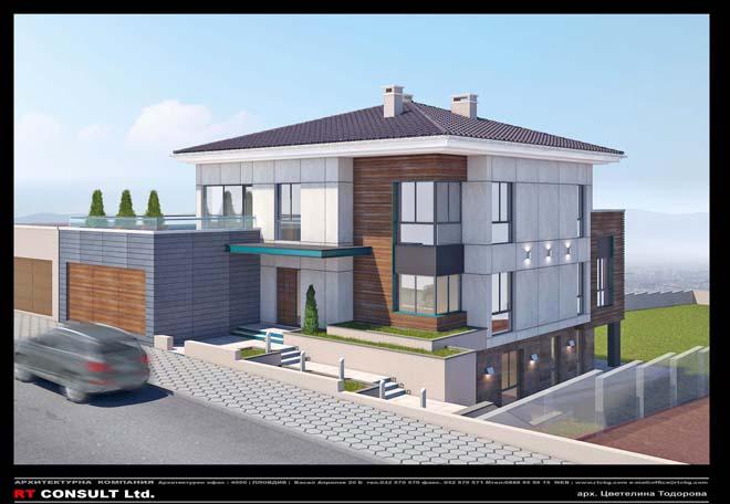 Представеният проект е на триетажна къща с допълващо застрояване на гараж в с. Белащица