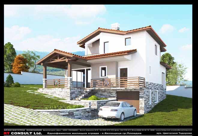 Проект на двуфамилна къщав с. Белащица, обл. Пловдивска.
