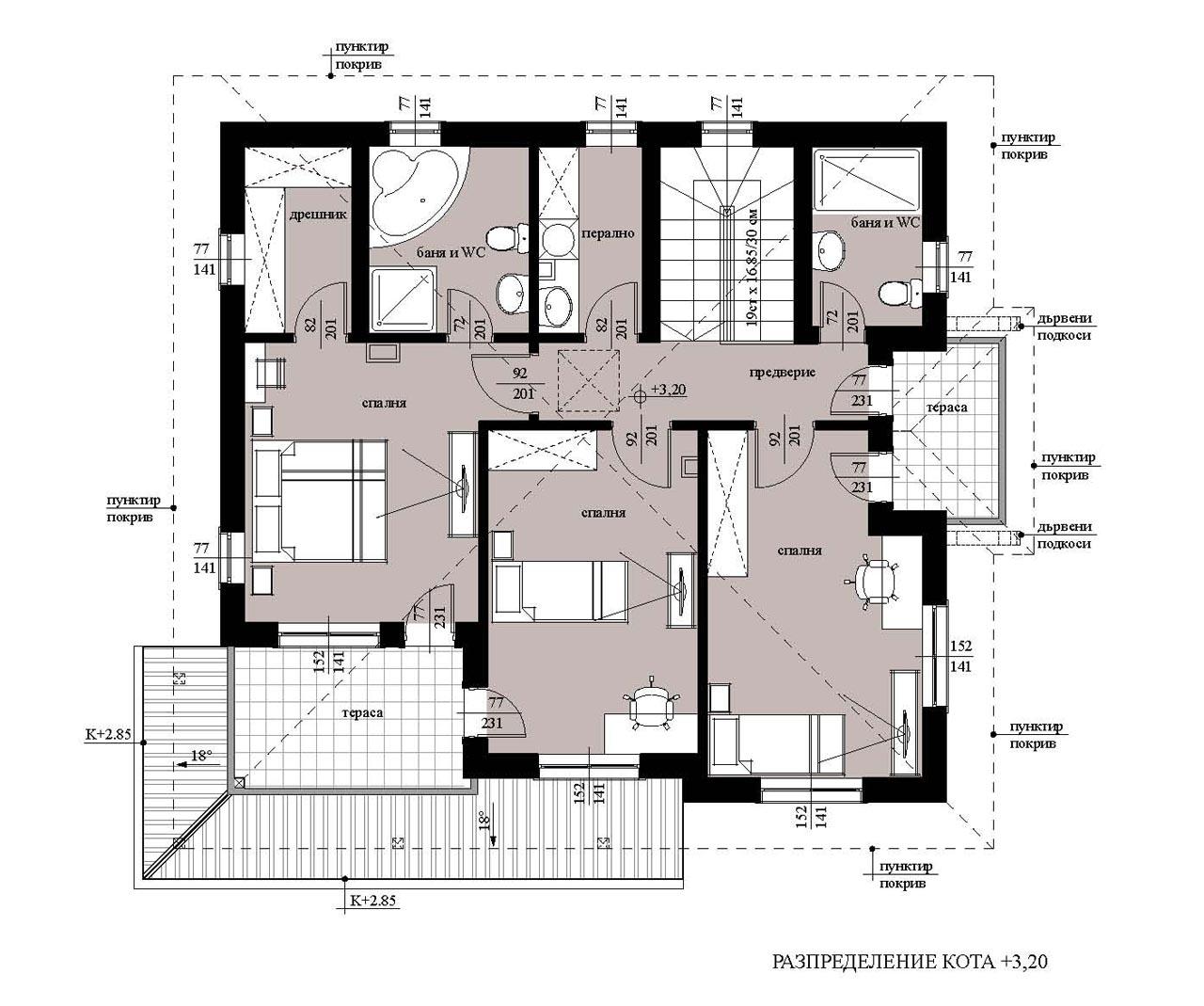 Проект на еднофамилна къща в с. Марково, общ. Родопи, обл. Пловдив