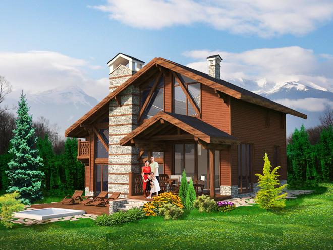 Проект на еднофамилна къща в алпийски стил