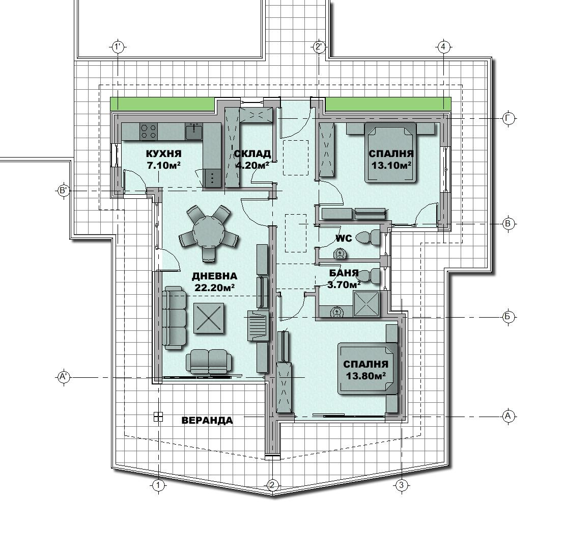 План на първи етаж - готов типов проект