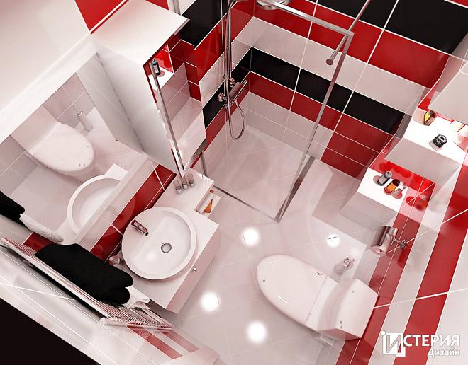 Интериорен проект на баня в червено