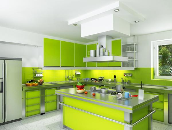 Дизайн на кухни със зелени акценти