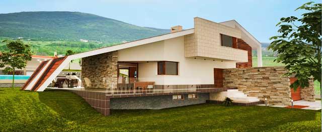 Проект на еднофамилна къща във вилна зона край гр. Пловдив.