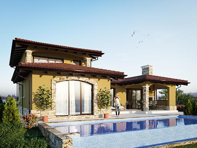 """Проект на еднофамилна къща""""Иберис""""- двуетажна, без сутерен"""